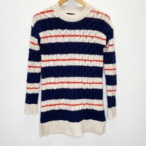 J. Crew Cable Knit Striped Tunic Sweater